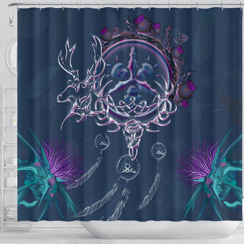 Scottish Thistle Shower Curtain - Scottish Red Deer Celtic Dream Catcher A18