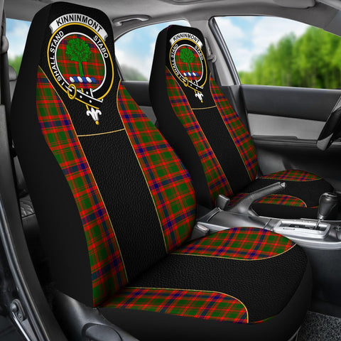 Tartan Car Seat Cover, Kinninmont Clan Badge Special Version Scottish Car Seat Cover A9