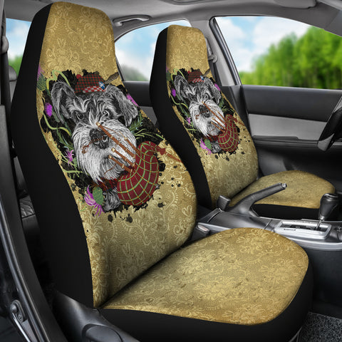Scotland Car Seat Covers - Scottish Terrier And Thistle Vintage | Love The World