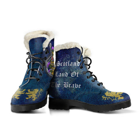 1stScotland Faux Fur Leather Boots - Scotland Land Of The Brave | 1stScotland