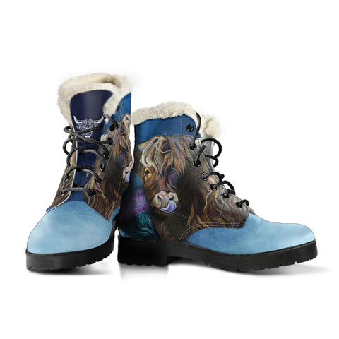 1stScotland Faux Fur Leather Boots - Highlands Cow Thistle A14