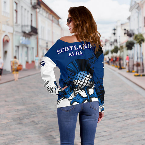 Abercrombie Crest Off Shoulder Sweatr Scottish Thistle A7