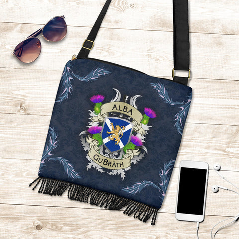 Scotland Crossbody Boho Handbag - Scotland Forever Flag Lion Thistle (Alba GuBràth) A02