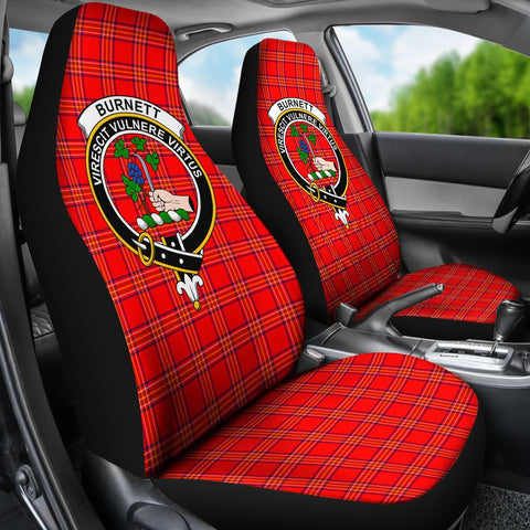 Tartan Car Seat Cover, Burnett Clan Badge Scottish Car Seat Cover A9