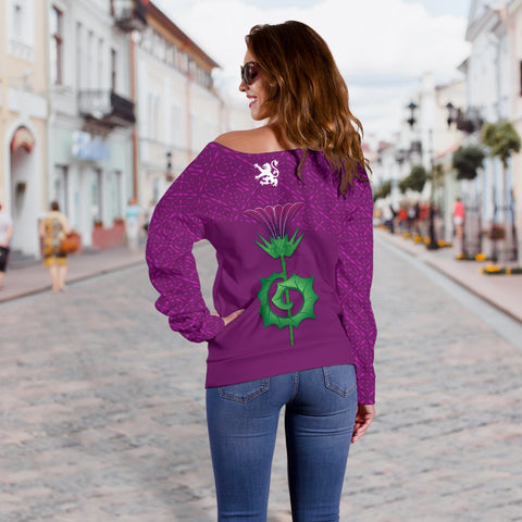 1stScotland Women's Off Shoulder Sweater - Thistle And Celtic Pattern | 1stScotland