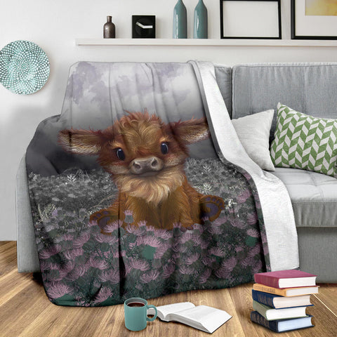 Scotland Premium Blanket - Highland Cow Calf Thistle A24
