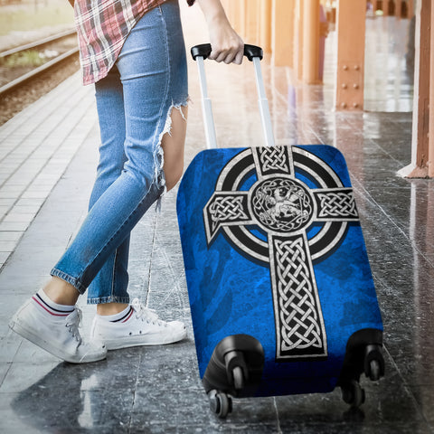 Celtic Cross Lion - Scottish Blue Luggage Cover | Love Scotland