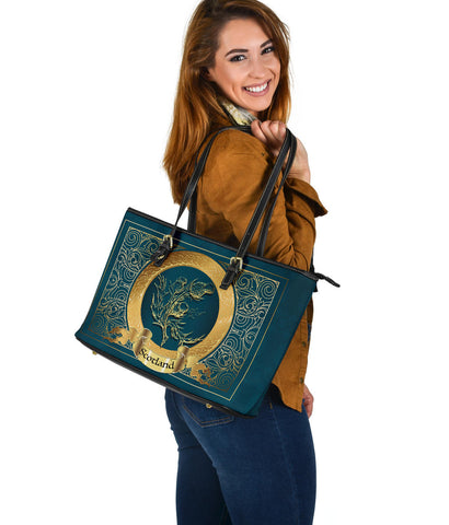 Scotland Leather Tote - Golden Thistle Pattern | Love The World