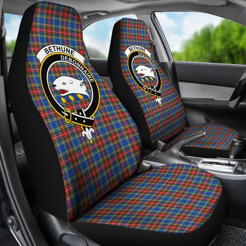 Tartan Car Seat Cover, Bethune Clan Badge Scottish Car Seat Cover A9