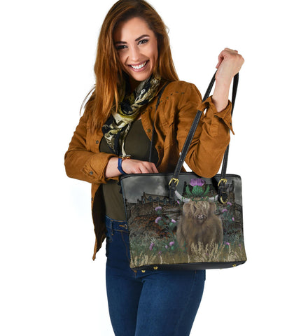 Scotland Small Leather Tote - Highland Cattle Thistle Edinburgh A24