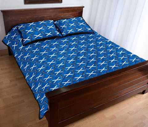 Scotland Flag And Chains Pattern Quilt Bed Set