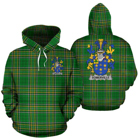 Somerville Ireland Hoodie Irish National Tartan (Pullover) | Women & Men | Over 1400 Crests