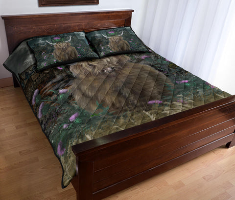 Scotland Quilt Bed Set - Highland Cattle Thistle Edinburgh | Love Scotland