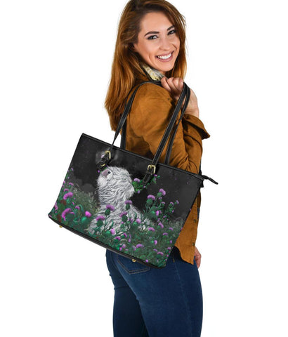1stScotland Leather Tote - White Highland Cow Hang Out With Thistle | 1stScotland