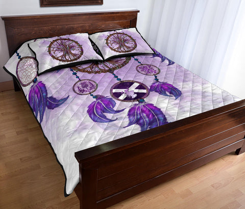 Image of Scotland Quilt Bed Set - Dream Catcher Celtic Tree Of Life White A24