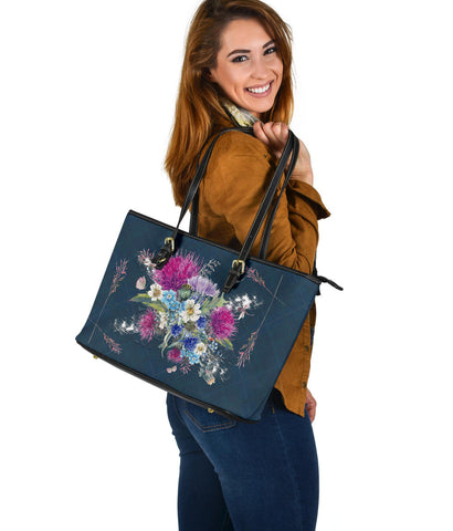 Scotland Leather Tote - Scottish Flag Thistle Vintage | Love The World