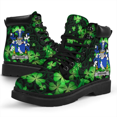 Sheehan or O'Sheehan Ireland Boots Irish Celtic Shamrock Knot Circle - All-Season Boots (Women's/Men's) | Over 1400 Crests | Shoes | Footwear