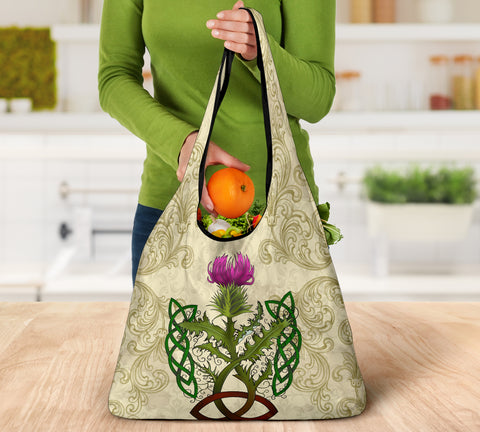 Image of Scotland Grocery Bag - Thistle Celtic Knot Beige | Love Scotland