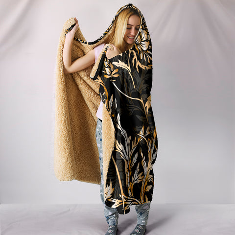 Agnew Hooded Blanket - Gold Scottish Thistle Over 300 Clans