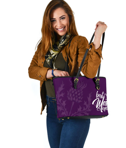 Mother's Day Scotland Leather Tote Bag Scottish Purple Thistle (Small) A7