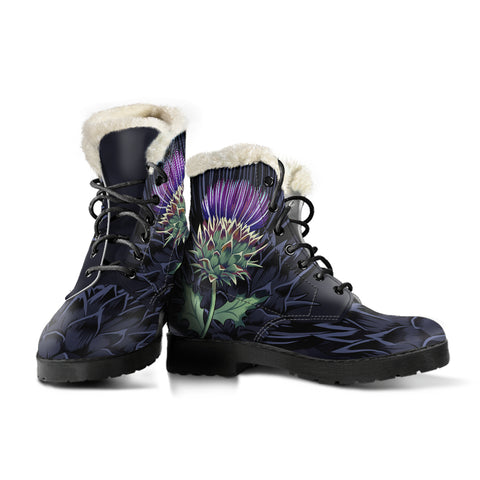 Purple Thistle - Scotland Faux Fur Leather Boots | Love Scotland