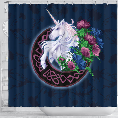 Scotland Shower Curtain - Unicorn Thistle And Moon Celtic A18