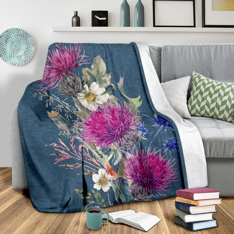 Image of Love Scotland | Thistle Rising Premium Blanket