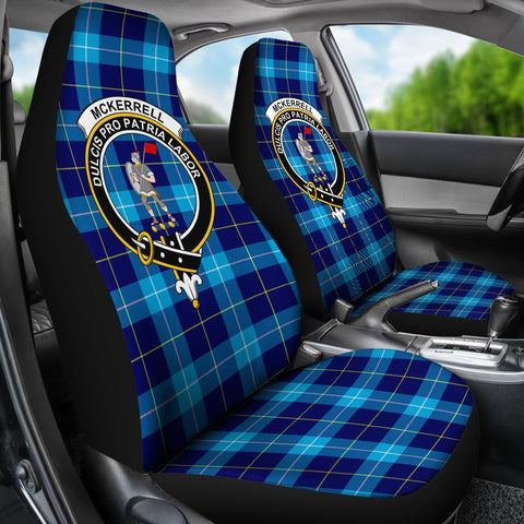 Tartan Car Seat Cover, Mckerrell Clan Badge Scottish Car Seat Cover A9