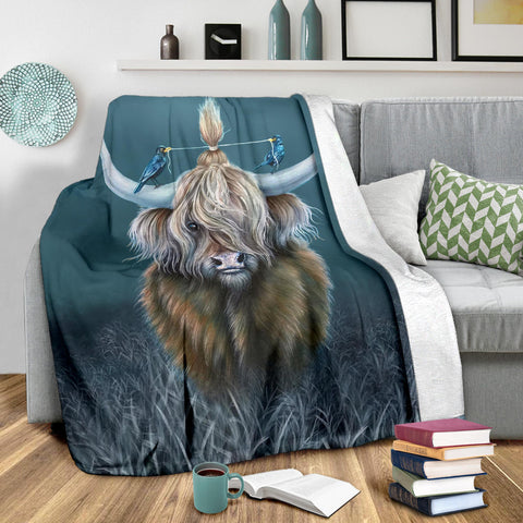Scotland Premium Blanket - Highland Cow And Bird A24