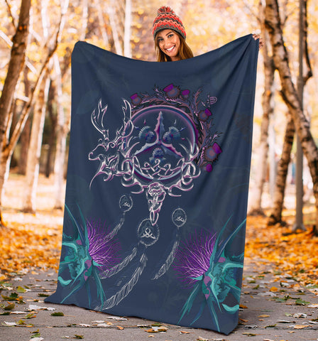 Image of Scottish Thistle Premium Blanket - Scottish Red Deer Celtic Dream Catcher A18