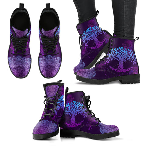 Scotland Leather Boots, Celtic Tree Of Life Thistle Mandala Boots A10