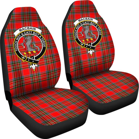 Tartan Car Seat Cover, Macbain Clan Badge Scottish Car Seat Cover A9