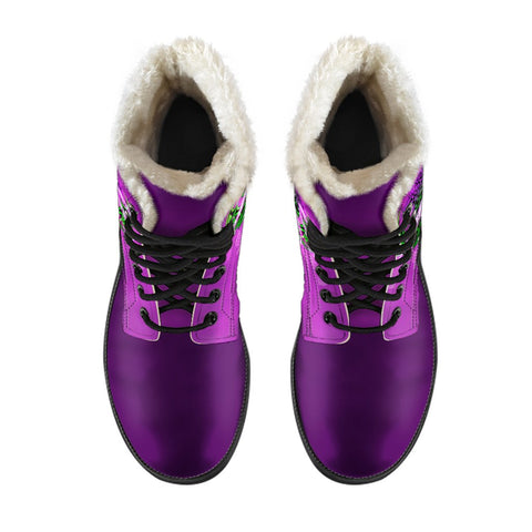 1stScotland Faux Fur Leather Boots - Purple Flower Of Scotland | 1stScotland