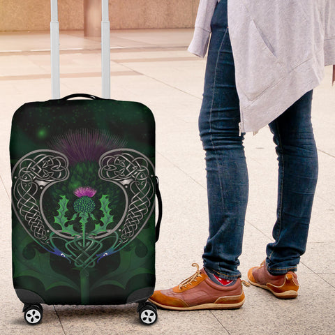 Image of Scotland Luggage Covers - Celtic Thistle Green | Love Scotland