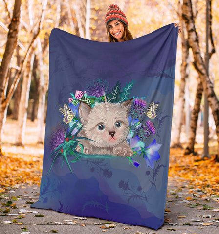 Scotland Premium Blanket - Scottish Fold Unicorn Horn And Bluebell Thistle A18