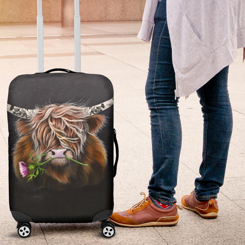 Scotland Luggage Covers - Thistle Highland Cow | Love Scotland
