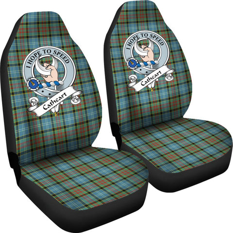 Tartan Car Seat Cover, Cathcart Clan Badge Scottish Car Seat Cover A9