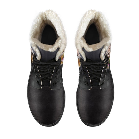 Scotland Faux Fur Leather Boots - Thistle Highland Cow | Love Scotland