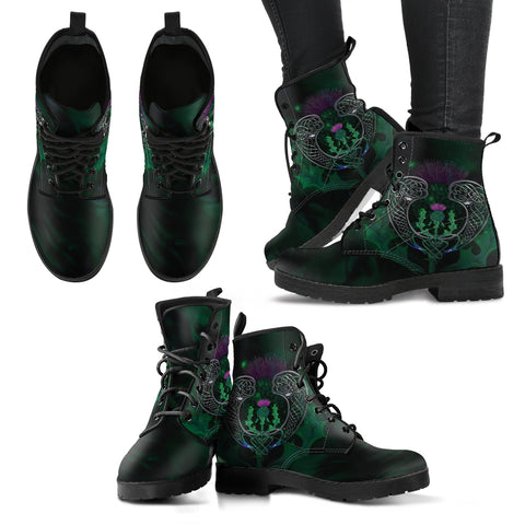 Image of Scotland Leather Boots - Celtic Thistle Green | Love Scotland