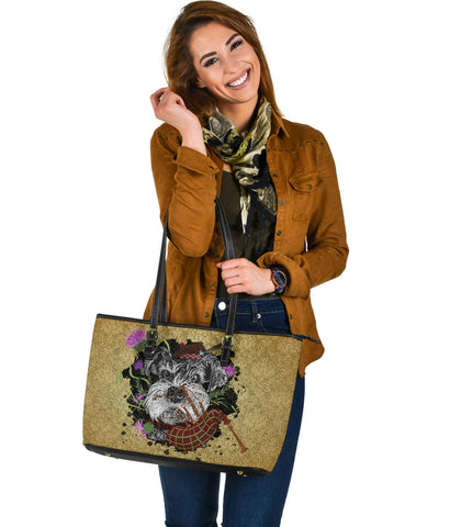 Scotland Leather Tote - Scottish Terrier And Thistle Vintage | Love Scotland