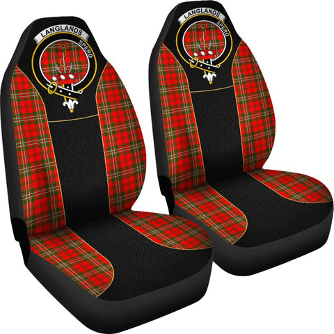 Tartan Car Seat Cover, Langlands Clan Badge Special Version Scottish Car Seat Cover A9