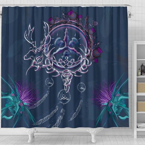 Image of Scottish Thistle Shower Curtain - Scottish Red Deer Celtic Dream Catcher A18