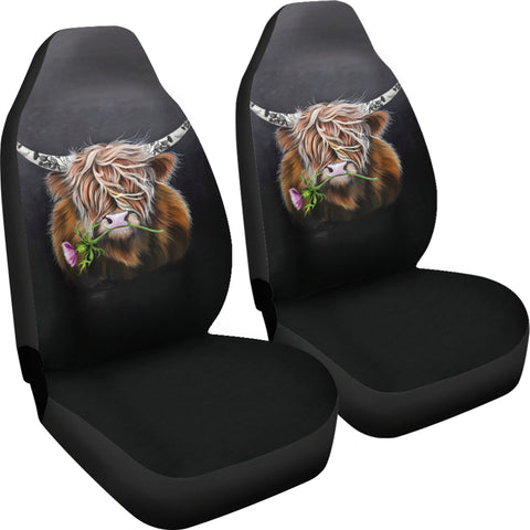Scotland Car Seat Covers - Thistle Highland Cow | Love Scotland