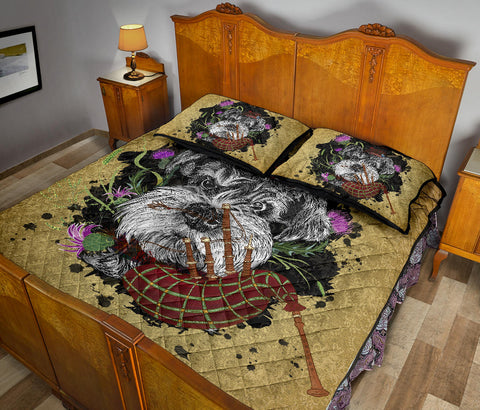 Scotland Quilt Bed Set - Scottish Terrier And Thistle Vintage | Love The World