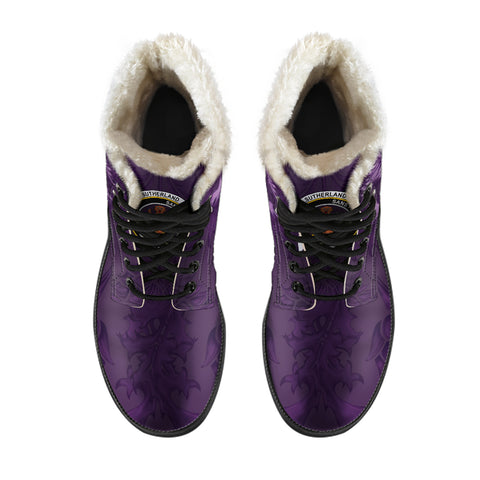 Sutherland I Crest Scottish Thistle Scotland Faux Fur Leather Boots Purple | Over 300 Clans
