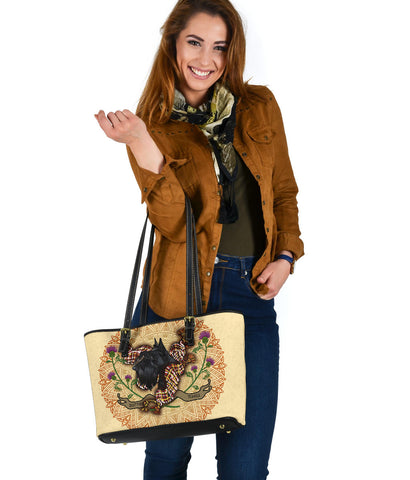 Scotland  Leather Tote - Scottish Terrier Thistle A24