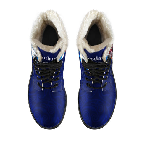 1stScotland Faux Fur Leather Boots - Scottish Bagpipes, Thistle Scotland The Brave | 1stScotland