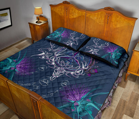 Scottish Thistle Quilt Bed Set - Scottish Deer Celtic & Thistle In Dream Catcher A18