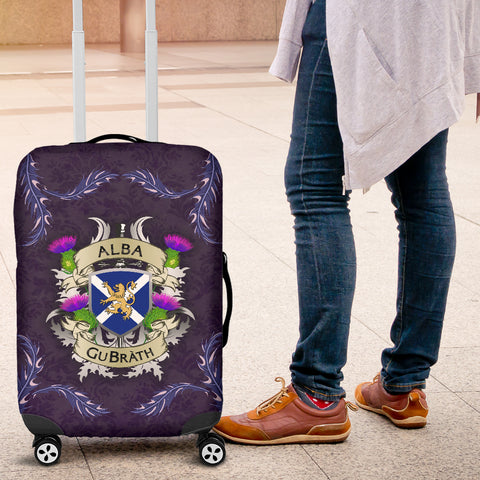 Scotland Luggage Covers - Scotland Forever Flag Lion Thistle Purple (Alba GuBràth) A02