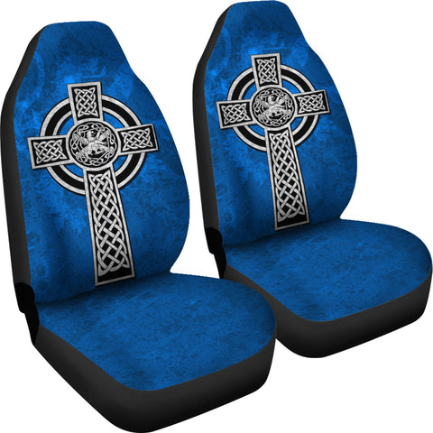 Celtic Cross Lion - Scottish Blue Car Seat Covers (Set of 2)